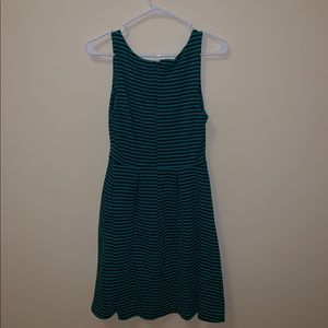 Green and black striped dress with pockets!
